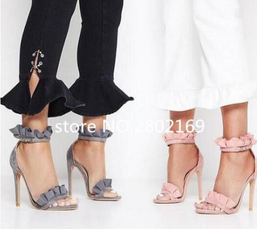 2017 Summer Sexy Open Toe Thin High Heels Ruffles Gladiator Sandals Women Ankle Strap Dress Party Ladies Shoes Buckle Free Ship 2016 new arrival leather long wallets men high quality famous brand casual wallet purses money card holders clutch bags carteira