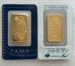 1 pcs ücretsiz teslimat, 1 oz Pamp Suisse 999 ince altın eski stil altın kaplama çubuk, sanat koleksiyonu için anma hediyeler