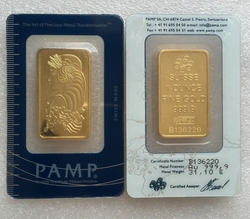 1pcs free delivery, 1 oz Pamp Suisse 999 fine gold old style gold plated bar, Arts for collection commemoration gifts