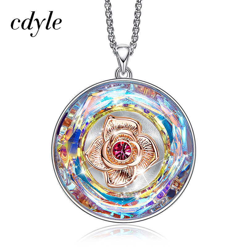 Cdyle Dancing Rose Necklace Women Embellished with crystals from Swarovski Necklace I LOVE YOU MOM Engraved