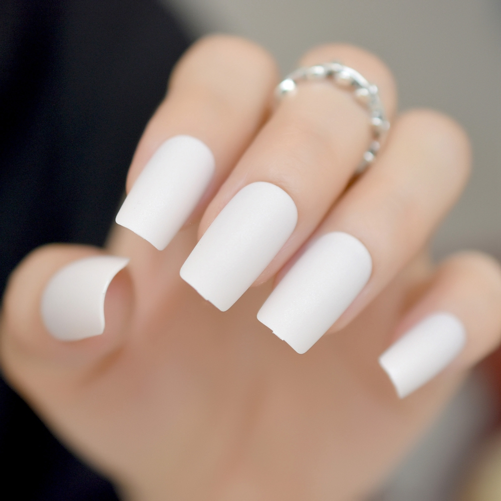 Matte nude pink press on nails candy slim size medium long fake nail treat yourself press on nail kit milk white matte square fake nail art tips medium size solutioingenieria Image collections