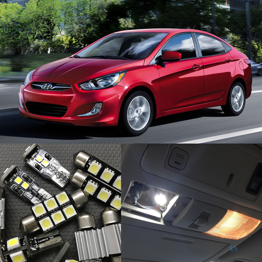 2014 Hyundai Accent Interior: 10x LED License Plate Lamp + Interior Lights Kit Package