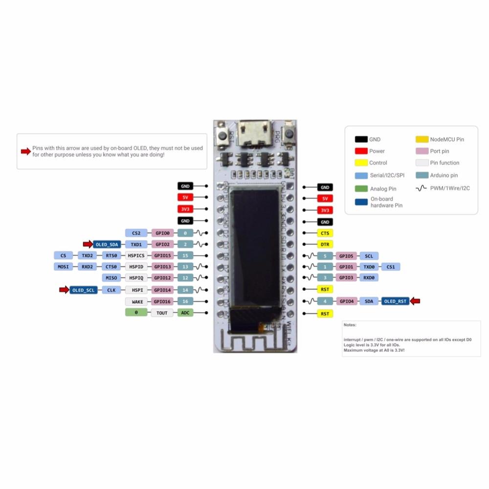 Aihasd 0.91 Inch OLED Display ESP8266 Wifi Kit8 Development Board for Arduino NodeMCU 128X32 White CP2104 for Smart Home