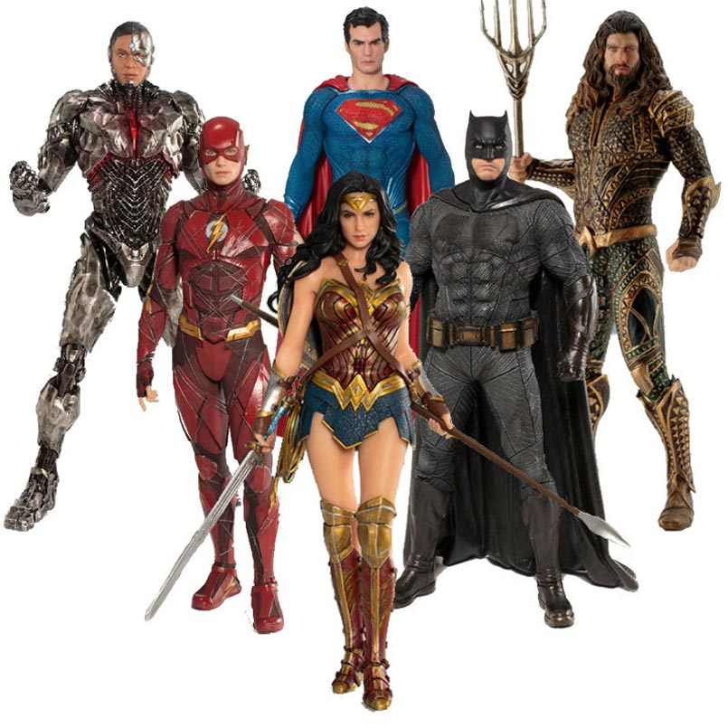 ARTFX + รูปปั้น Justice League Superman Batman Wonder Woman Flash Aquaman Cyborg 1/10 Scale Pre - ทาสีรูปของเล่น