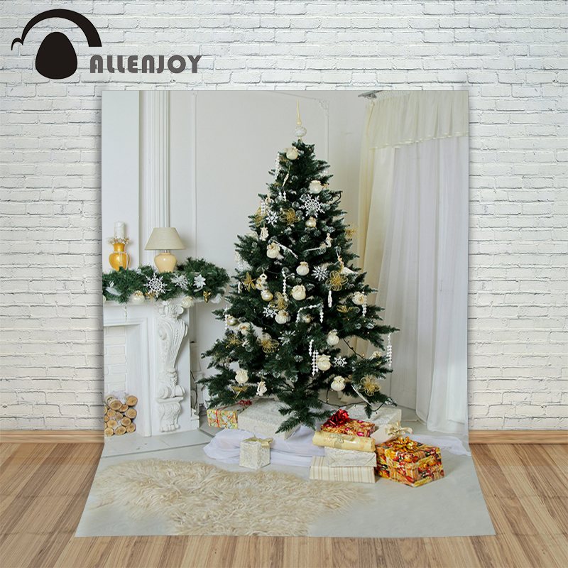 Allenjoy photography Christmas backdrop Tree fireplace gift white New Year professional background pictures for photo studio