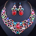 Мода Африканский Комплект Ювелирных Изделий Позолоченный Ожерелье и Серьги Горный Хрусталь Кристалл Люкс Свадебные Ювелирные Наборы