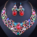Fashion African Jewelry Set Gold Plated Necklace and Earrings Rhinestone Crystal Bridal Wedding Jewelry Sets