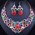 Moda Africana Joyería Conjunto Chapado En Oro Collar y Los Pendientes Del Rhinestone Crystal Bridal Wedding Sets Joyería
