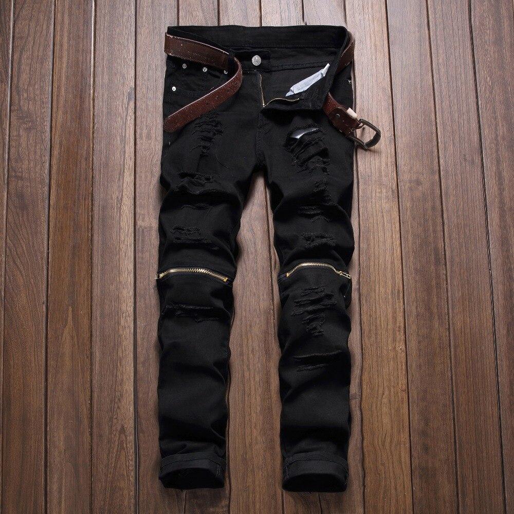 2016 new mens knee zipper jeans destroyed ripped hole. Black Bedroom Furniture Sets. Home Design Ideas