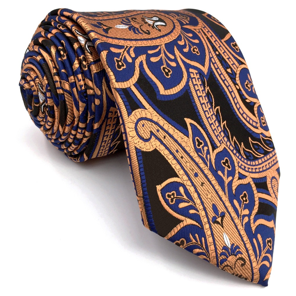 A34 Black Blue Bronze Paisley Mens Necktie Wedding Fashion Classic Silk Ties for male Dress extra long size Hankies