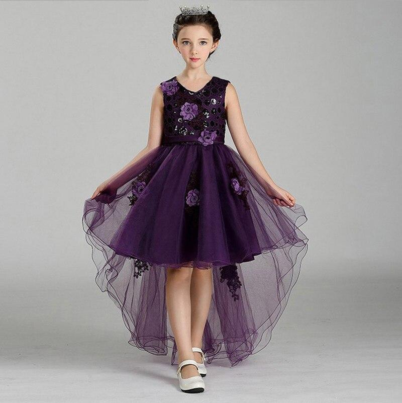 Girls princess dress 2017 fashion summer party wedding dresses V-neck elegant flowers mermaid Tutu trailing dress girl clothes