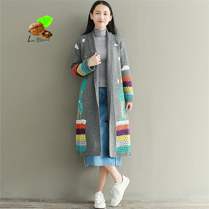 women Brand Cartoon loose long Mori cardigan outerwear girls autumn & winter 2017 long-sleeve Retro sweater casual clothes