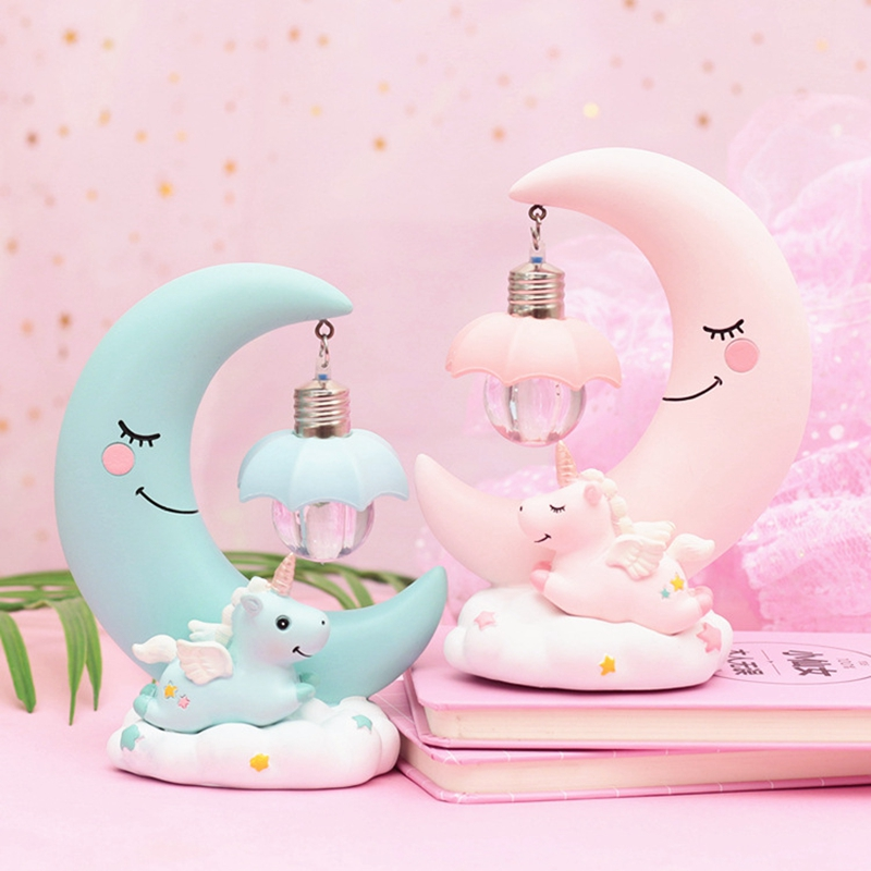 HTB1ISe8X0fvK1RjSspoq6zfNpXai LED Night Light Unicorn Moon Resin Cartoon Night Lamp Luminaria Romantic Bedroom Decor Night Lamp Baby Kids Birthday Xmas Gift