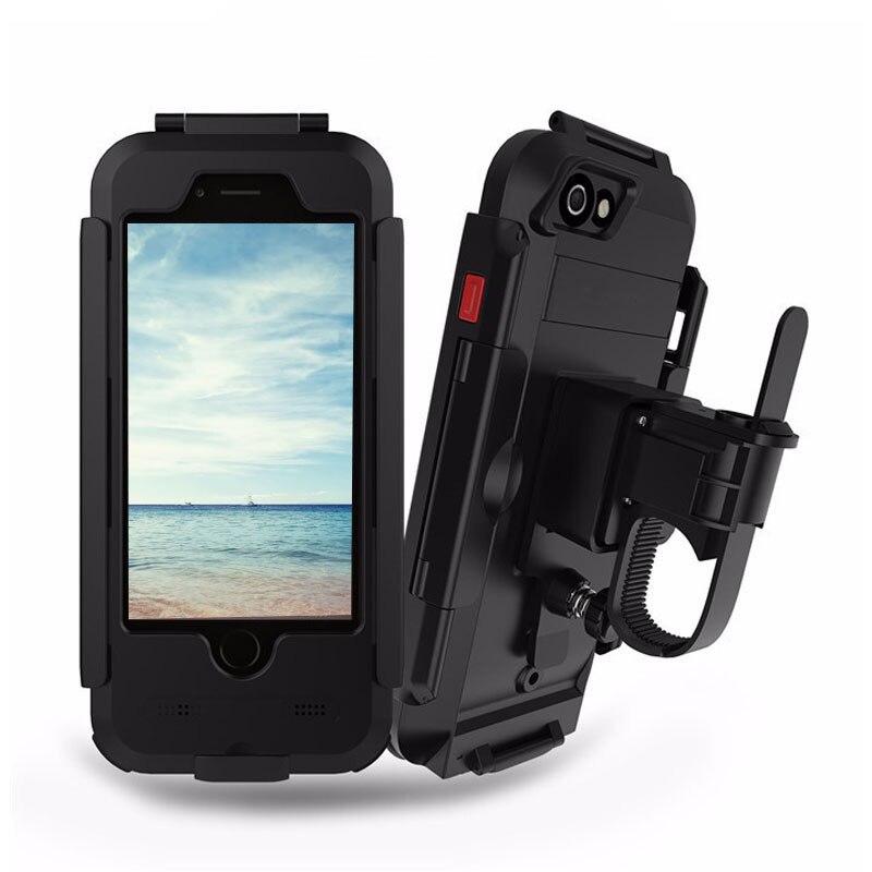 Цена за Мотоцикл Рули управления для мотоциклов крепление Велосипеды держатель телефона мобильный телефон стенд для iPhone 5 5S 6 6 S 6 плюс 6 S плюс 7 7 Plus Водонепроницаемый случае