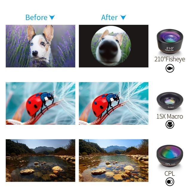 APEXEL 6 in 1 Phone Camera Lens Fisheye Lens Wide Angle macro Lens CPL Star Filter 2X telescope for Samsung Huawei all phones 2