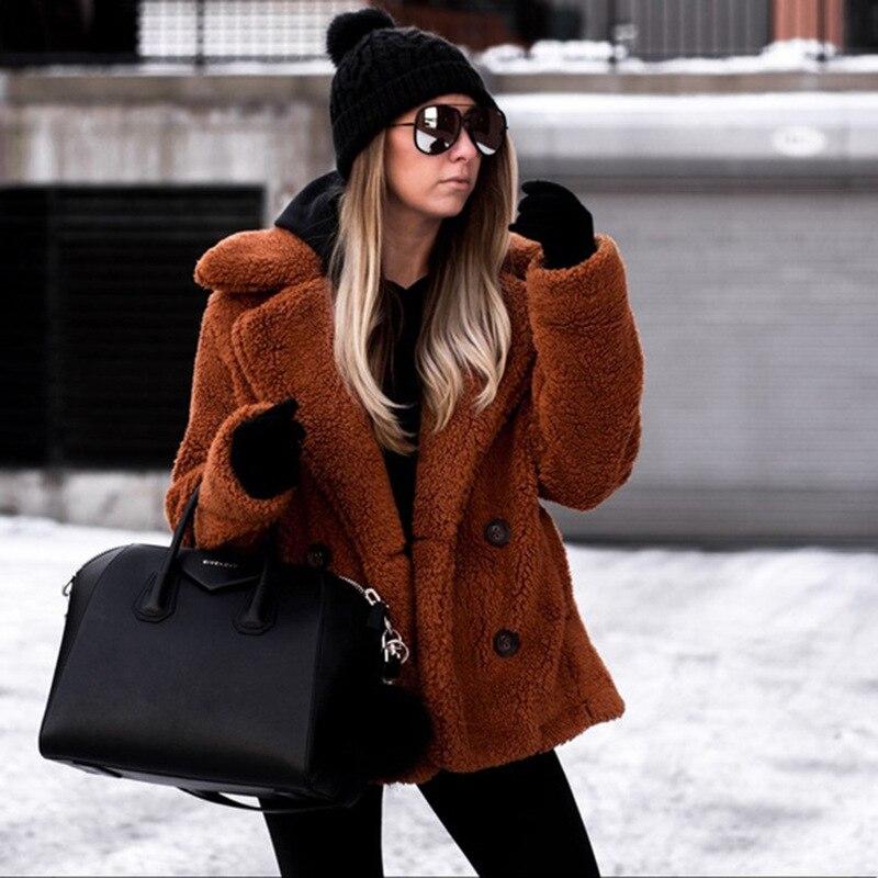 Women's   Jacket   Autumn Faux Fur Soft Fleece Coats &   Jackets   Female Winter Fluffy Coat   Basic     Jacket   Outerwear plus size 3XL KDR102
