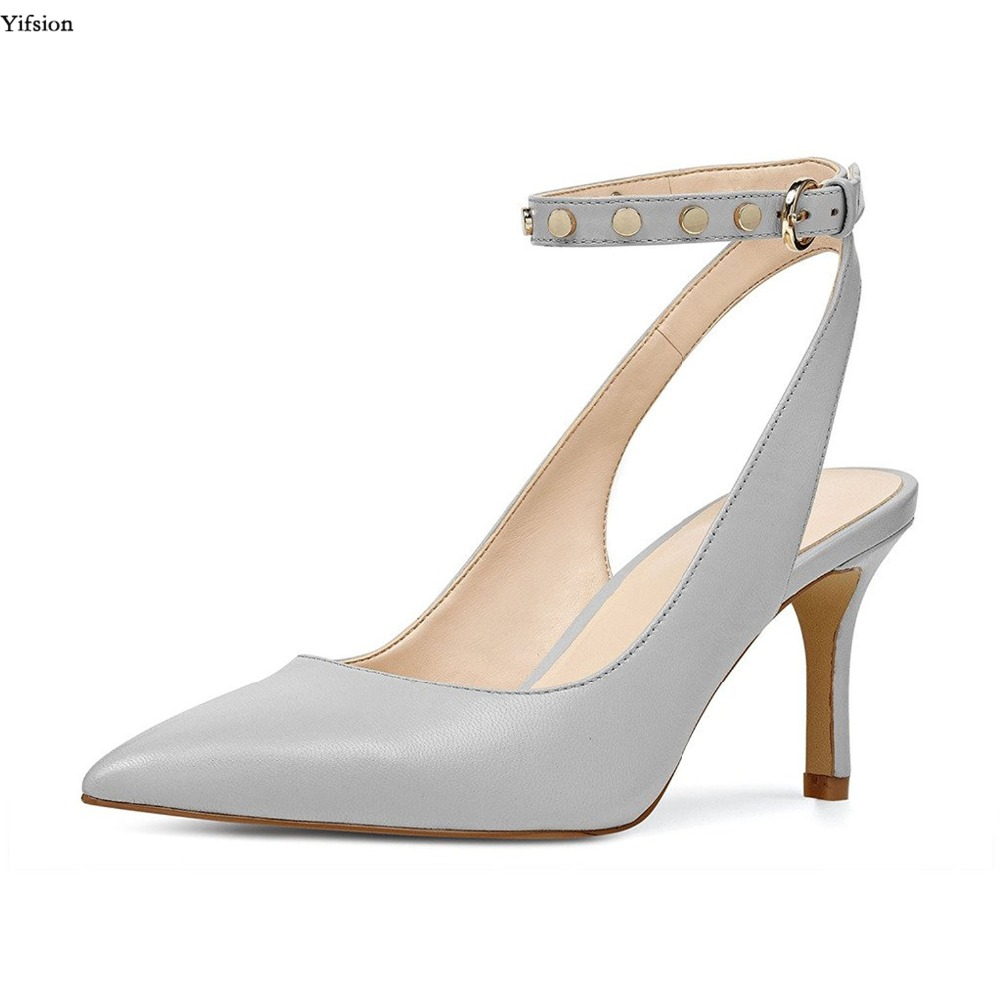 Yifsion New Women Low Heel Slingback Pumps with Ankle Strap Pointed Toe Dressy Studded Shoes Party Shoes Women Plus US Size 4 15