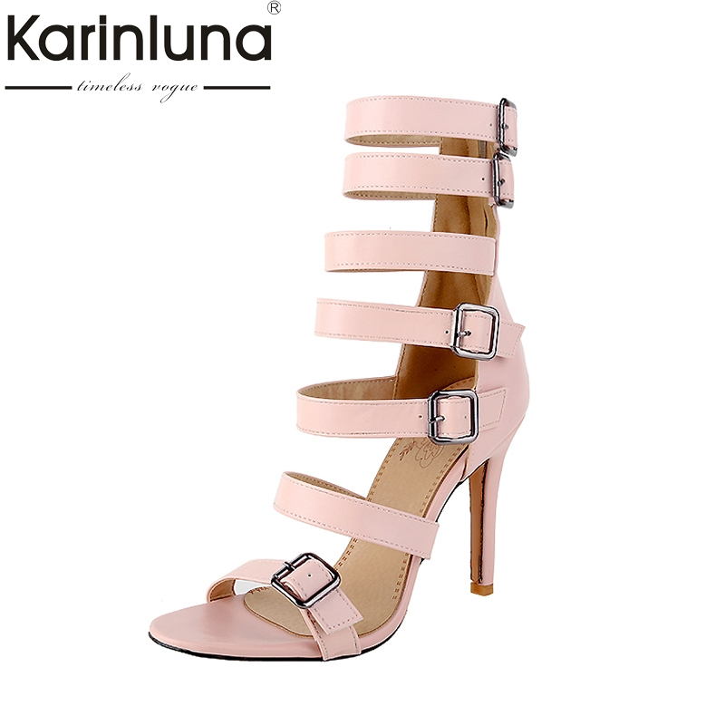Karinluna New Top Quality Large Size 32-46 Gladiator Summer Shoes Sandal Woman Sexy High Heels Buckles Sandals Women Shoes