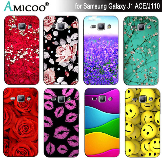 Soft Silicon TPU Phone Cover Case for Samsung Galaxy J1 ACE SM-J110F SM-J110H J110F J110FM Cases Back Funda Capa Flower Bag