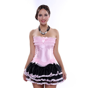 Image 2 - Carnival Party Sexy Satin Lingerie Corset and Bustier Mini Tutu Petticoat Skirt Fancy Wedding Dress Costume S 6XL