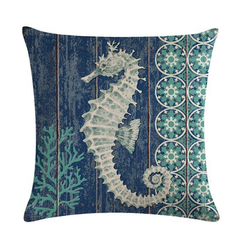 Blue Seahorse Cushion Cover 6
