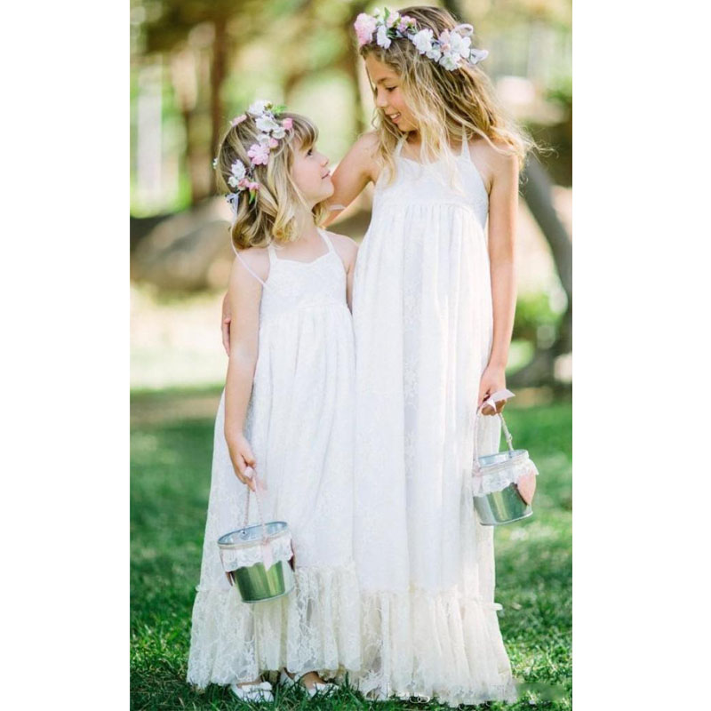 Flower Girl Dresses For Garden Weddings: 2017 Lovely White Lace Boho Flower Girls Dress Halter