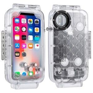 Image 2 - PULUZ עבור iPhone 8 8 בתוספת 7 7 בתוספת X XS 40 m/130ft Waterproof צלילה מקרה דיור תמונה לקיחת וידאו מתחת למים 40m כיסוי מקרה