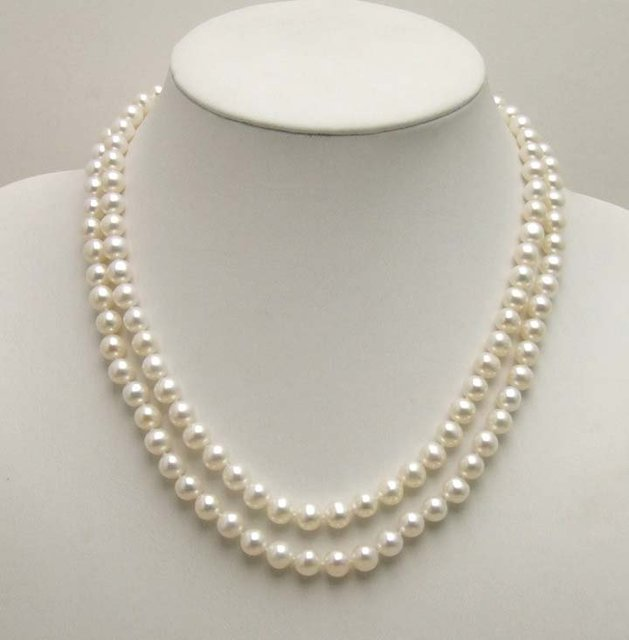 Wholesale/retail AA Double strings Super Luster 7-8MM NATURAL WHITE Freshwater Pearl NECKLACE -5421 Free shipping