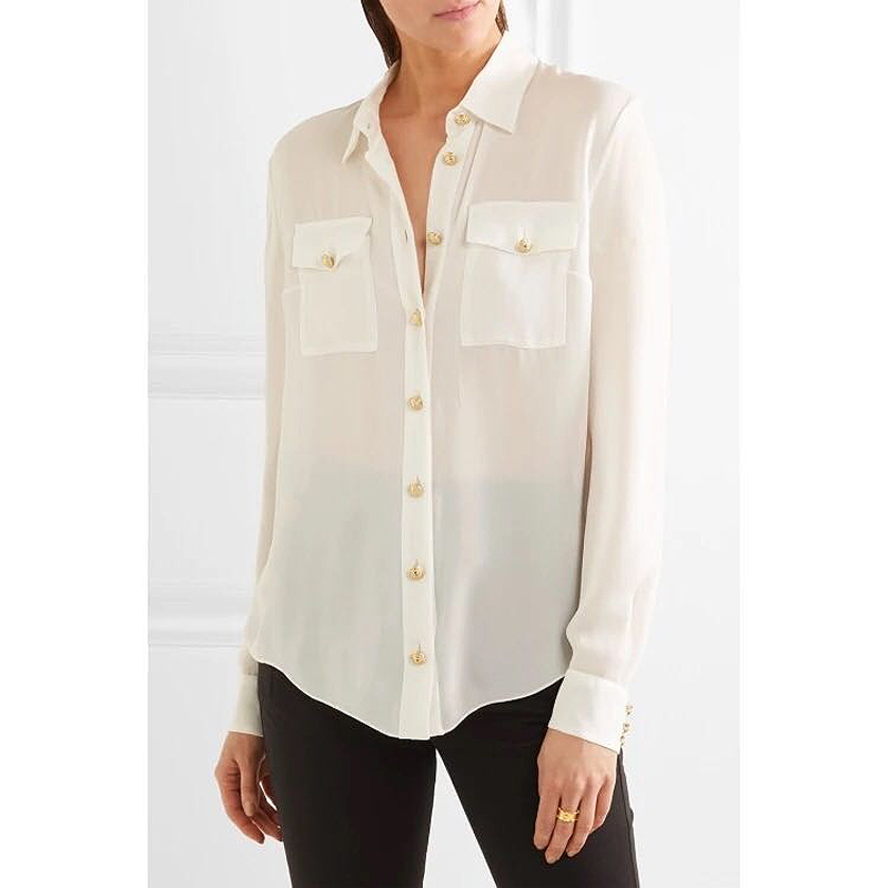 Высокое качество, новые моды 2018 Дизайнер рубашка Для женщин с длинным рукавом Металл Лев Пуговицы блузка рубашка