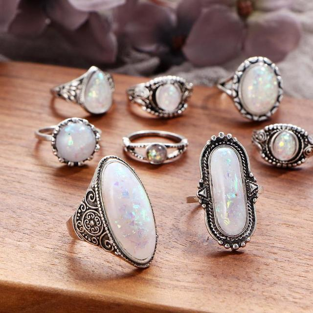 brixini.com - Pandela™  Natural Simulated Marquise Moonstone Rings 8PCS