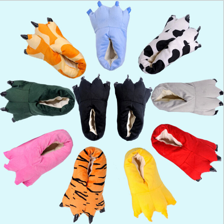 Fashion Fits Unisex Soft Plush Home Slippers Animal Costume Paw Claw Shoes Cartoon Slipper Warm Soft Plush Winter Indoor Shoes