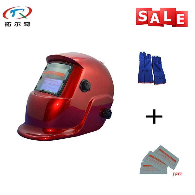 Autimatic Welder Mask TIG welding helmet argon arc welding mask grinding Welding Helmet TRQ-HS03-2200de with blue gloves