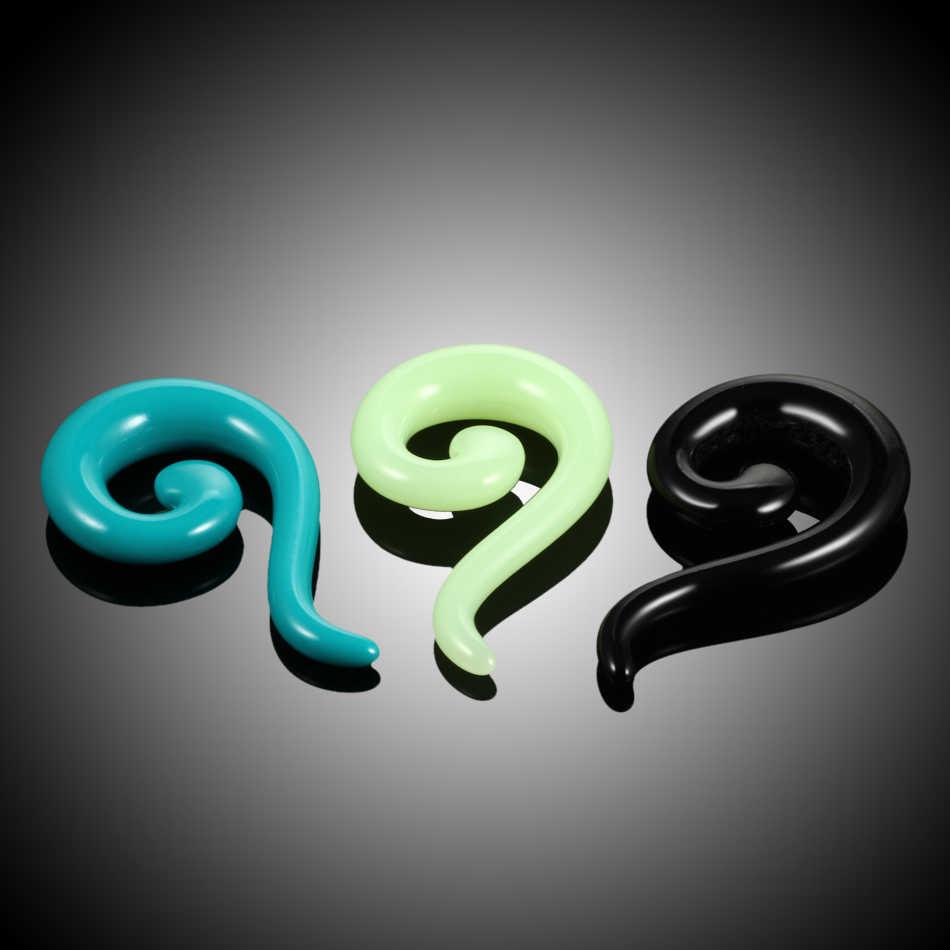 2 Pcs/lot Akrilik Ekor Spiral Telinga Lancip Tandu Tindik Suku Swirl Telinga Daging Plug Gantungan Telinga Menggunakan Mesin Expander Tindik Tubuh Perhiasan