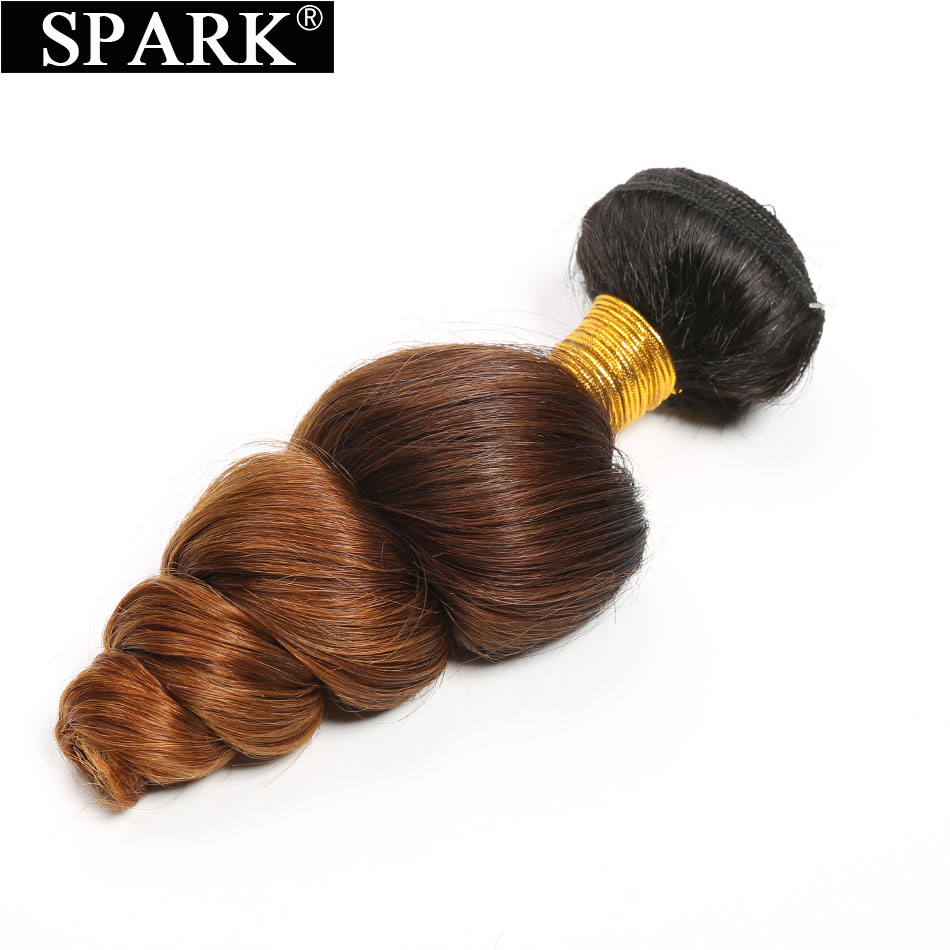 Peruvian Loose Wave Bundles 1PC 100% Human Hair Weaving T1B/4/30 Ombre Bundle Deals 10 26 inches Spark Remy Hair Extensions