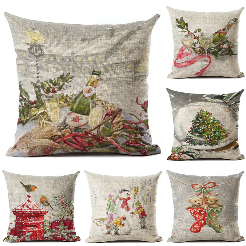 Pillow Case Beautiful New Years Gifts Christmas Santa Claus Snowman Throw Pillow Cover Home Office Decorative Cushion Cojines