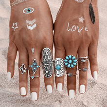 9Pcs/  Bohemian Ring Set Vintage Steampunk Cross flowers Anillos Ring Knuckle Rings for Women New Jewelry