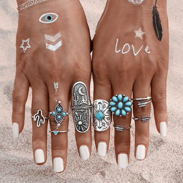 9Pcs/ Bohemian Ring Set Vintage Steampunk Cross flowers Anillos Ring Knuckle Rin