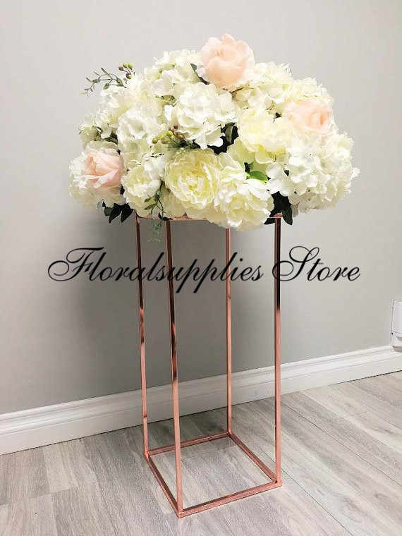 10PCS Gold Iron Flower Stand Centerpiece Wedding Decoration Floor Vases 80 cm tall Display Rack