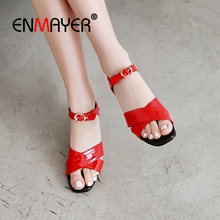 ENMAYER 2019 New Arrival  Woman Sandals Summer Basic Casual Buckle Strap High Heel Solid Women Shoes Size 34-43 LY2229