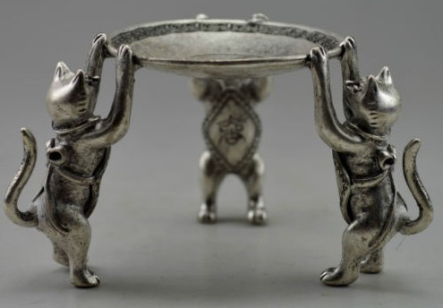 christmas decorations for home+ Metal Crafts Collectible Decorated Old Tibet Silver Carved 3 Cat Climb Plate Candle Stick