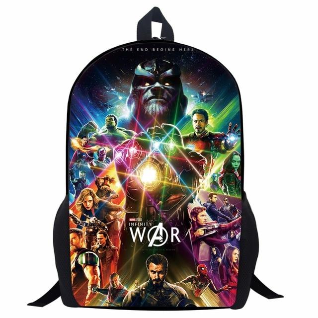 058ebaa9923f 17 дюймов Мстители Бесконечная война рюкзак танос Черная пантера печати  мультфильм детей школьные сумки для мальчиков