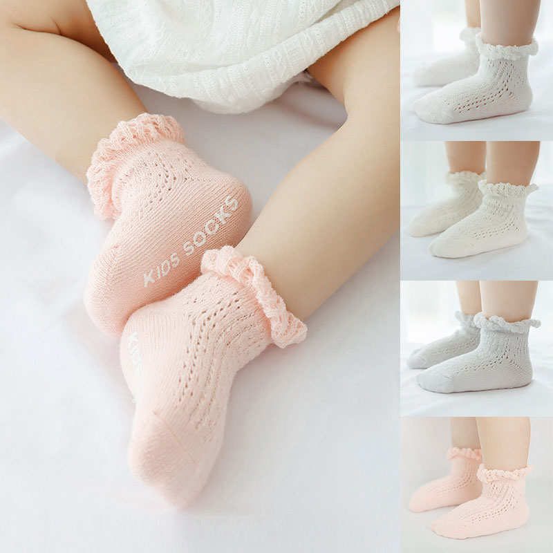 Baby Girls Lace Socks Cotton Breathable Long Socks Toddlers Anti Slip Socks 0-3T