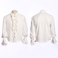 Moda męska Biały Koszulki Punk Gothic Steampunk Ruffles Smokingi Klasyczna Koszulka Bawełniana Koszula Z Długim Rękawem z Koronki Mankietów