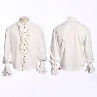 Steampunk Men's White Shirts Punk Gothic Fashion Ruffles Tuxedo Shirt Classic Long Sleeve Cotton Shirt with Lace Cuff