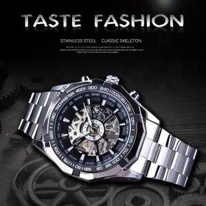 Image 2 - Forsining reloj deportivo informal para hombre, resistente al agua, de acero inoxidable y plata 2017, militar, Reloj de pulsera mecánico