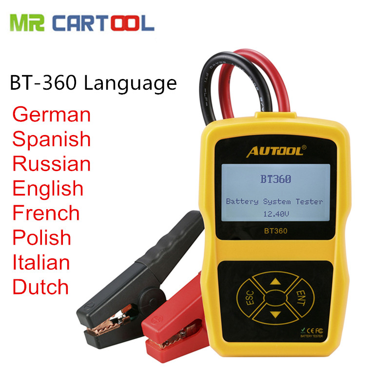 High Quality AUTOOL BT-360 Battery Tester BT360 car battery tester BT 360 tester Updated bst-100 battery tester