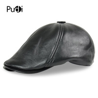 HL7110 Genuine sheep skin Leather Hat Cap belt 2017 brand new real soft leather baseball caps berets hunting newsboy hats