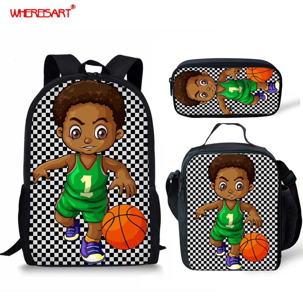 WHEREISART 3pcs/Sets Children School Bags Set African Black Boys Kids Backpack Afro Soccer Art Student Elementary Schoolbags