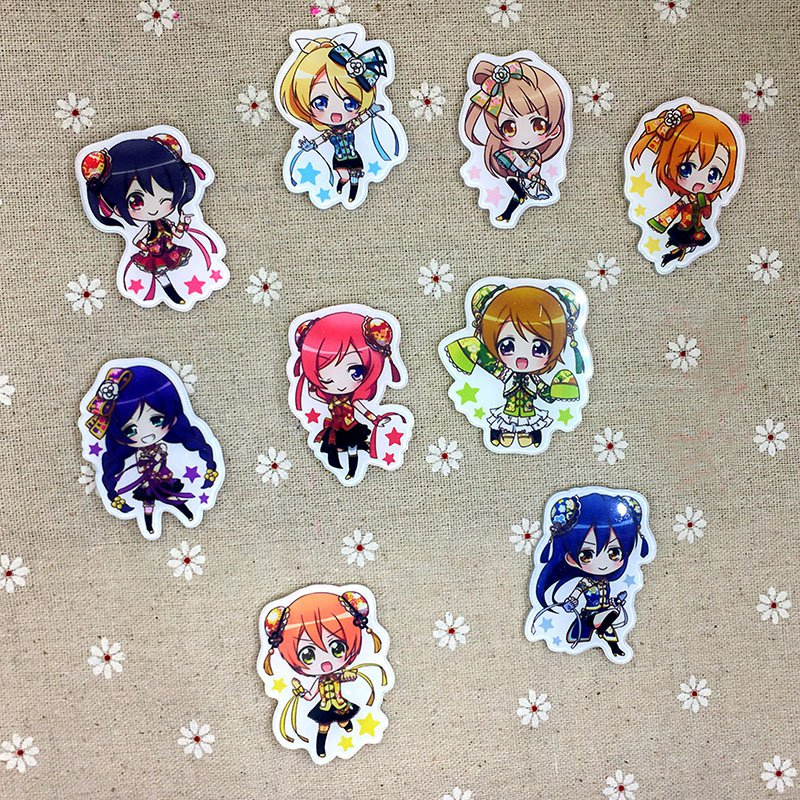 9pcs/lot Anime Love Live Acrylic Badges Set Irregular Icon Lovelive 9 Mumbers Breastpin Pins Backpack Clothes Decor Brooches
