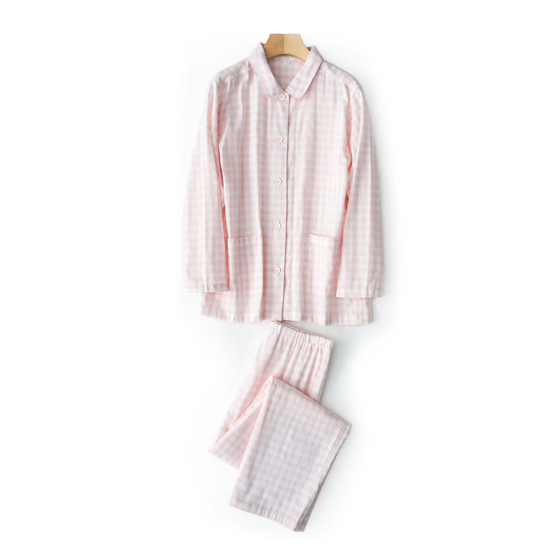 2PCS Long Sleeve Shirt Pants Sleep Set Casual Pajamas Suit Female Sleepwear Negligee Cotton Home Clothes Plaid Nightwear M L in Pajama Sets from Underwear Sleepwears